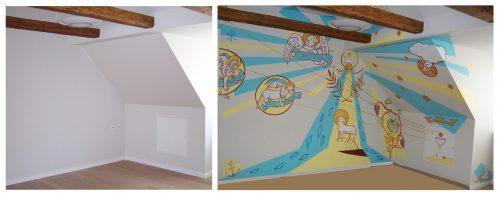 vægmaleri. gavlmaleri, projekter, dekoRum, før og efter, arbejdsmiljø, rumudsmykning, Xenia Michaelsen, kristlige synboler,