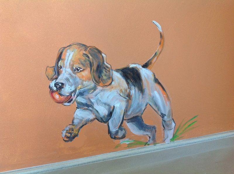 kunstner Xenia Michaelsen mine Værdige vægmalerier hund naturmaleri
