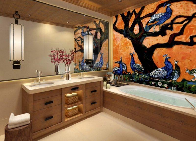 Boligudsmykning til private feriestemning vægmaleri Xenia Michaelsen