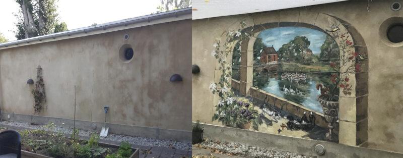 vægmaleri før og efter udsmykning