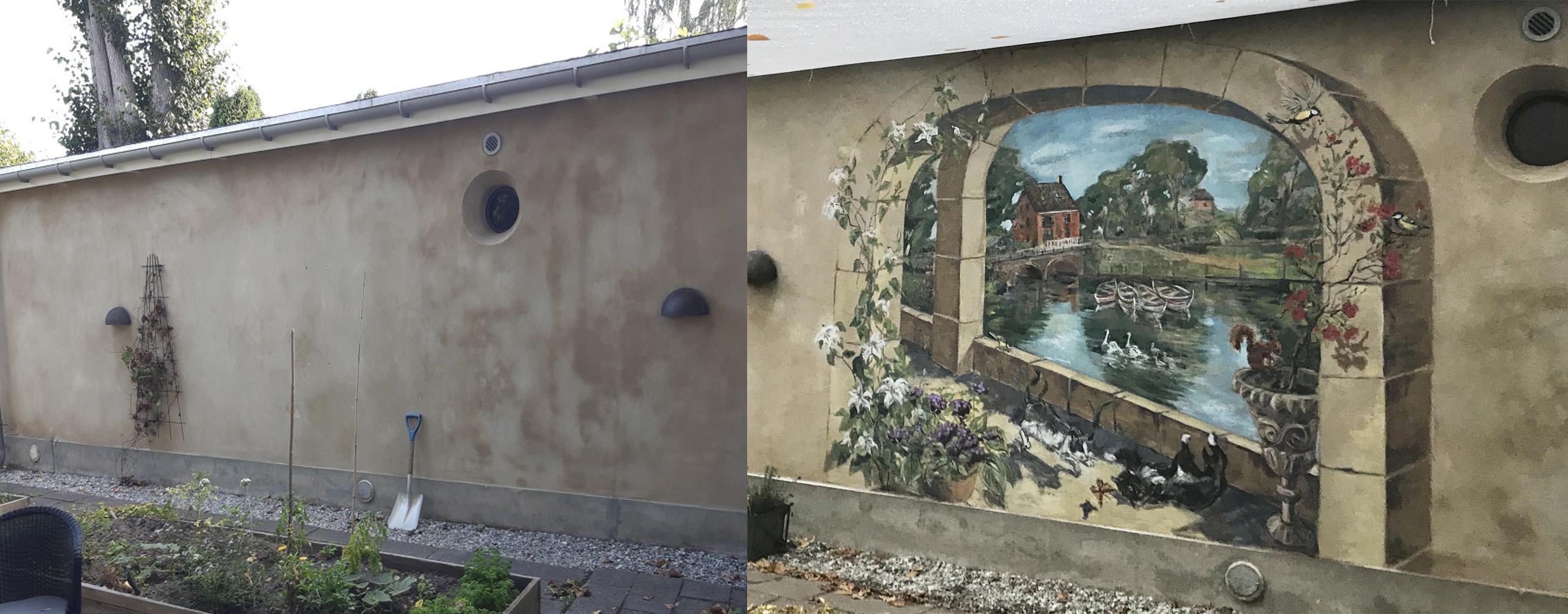Før og Efter vægudsmykning