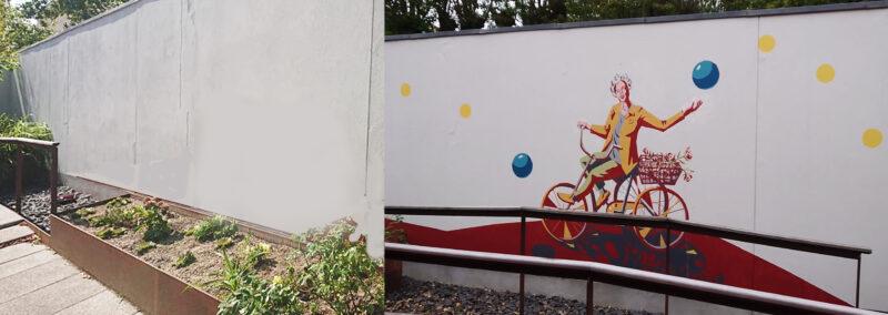 udendørs vægmaleri før og efter udsmykning
