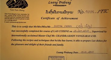 Luang Prabang Cookery School Certificate Frank During