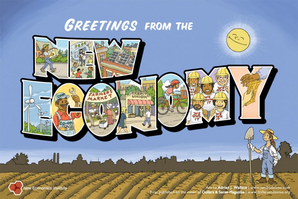 """Ett vykort med hälsningar från den """"nya ekonomin""""."""