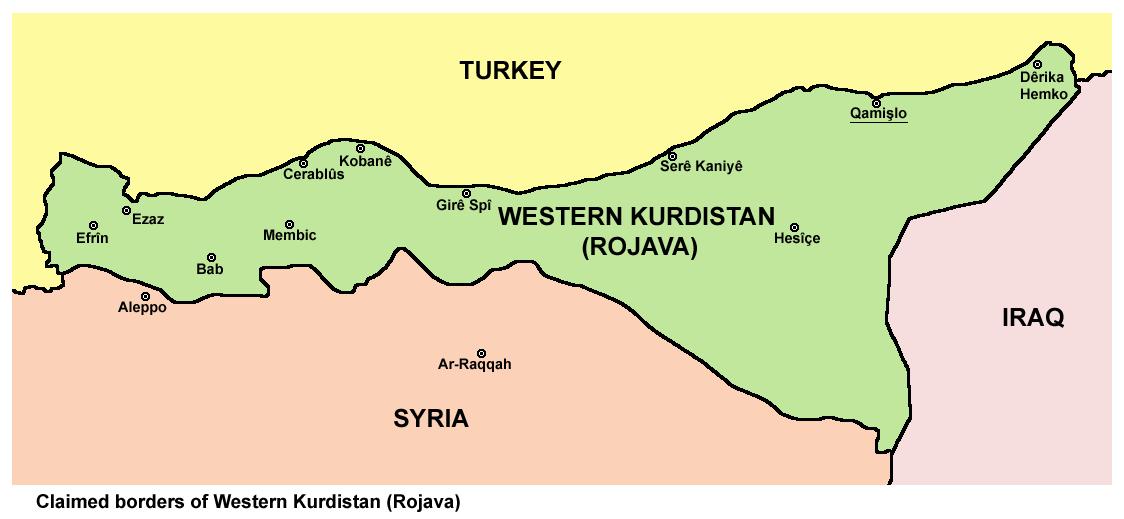 Karta som visar de gränser som västra Kurdistan (Rojava) gjort anspråk på.