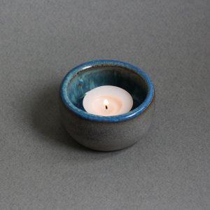 Blauwe Keramische Waxinehouder + Naam Aardewerk 1 blauw 1