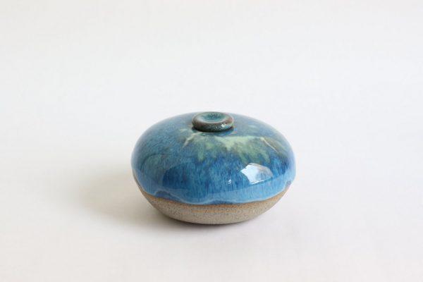 Blauwige Keramische Mini Urn Aardewerk 1 b2 (1)