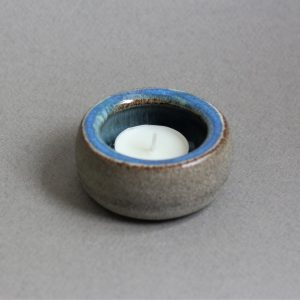 Blauwe Keramische Waxinehouder + Naam Aardewerk 2 blauw 2