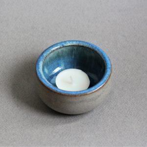 Handgemaakte Blauwe Keramische Waxinehouder + Naam Aardewer k3 blauw 3