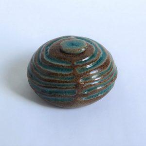 Turquoise Groen Ovale Keramische Mini Urn r4 (1)