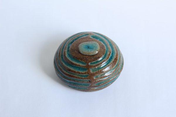 Turquoise Groen Ovale Keramische Mini Urn Aardewerk r4 (2)