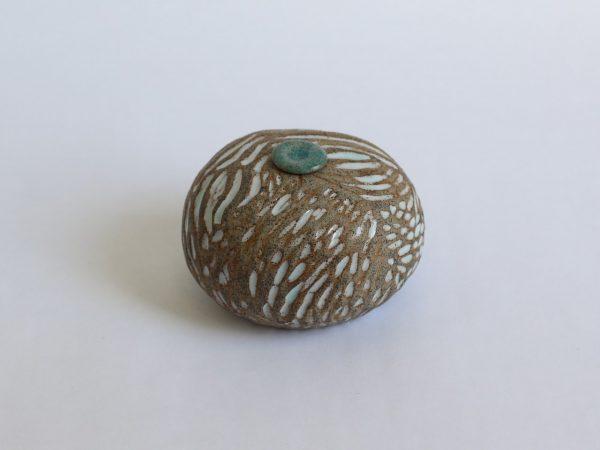 Zand Witte Ovale Keramische Mini Urn Aardewerk r3 (1)