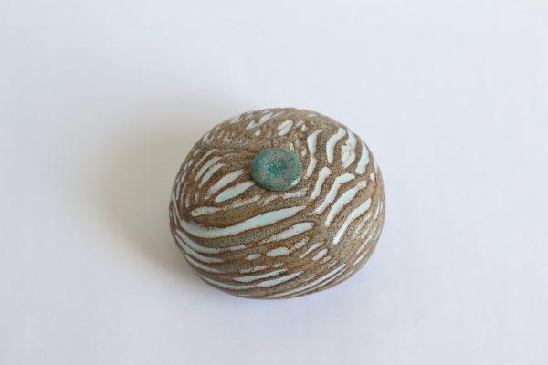 Handgemaakte Zand Witte Ovale Keramische Mini Urn Aardewerk r3 (3)