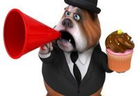 Diabetikerwarnhund. Hund mit Törtchen und Megaphone