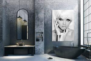 blonde model bathroom