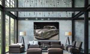 poster van porsche 356 in loft op plexiglas