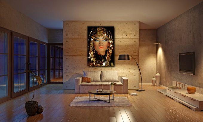 poster van arabische prinses in woonkamer op plexiglas