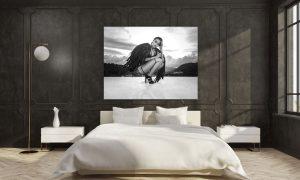 sexy engel op poster in slaapkamer op plexiglas