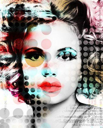 Poster van een mooie vrouw in contemporary stijl op plexiglas