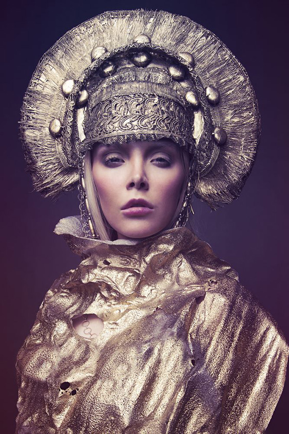 Woman in decorative head wear