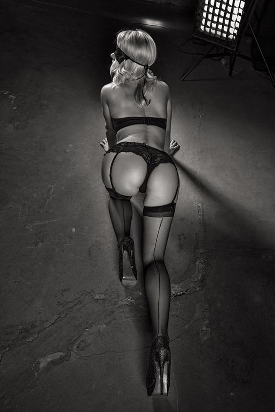 Sexy blonde woman in underwear