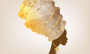 afrikaanse vrouw met traditionele tulband op plexiglas