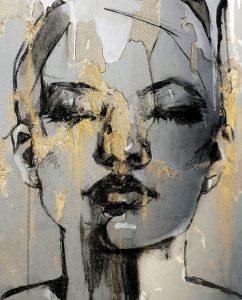 Acryl en olie schilderij op canvas op plexiglas