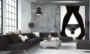 zwarte lingerie poster op plexiglas
