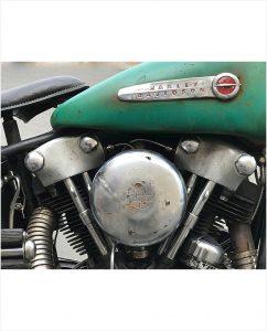 close up knucklehead harley engine