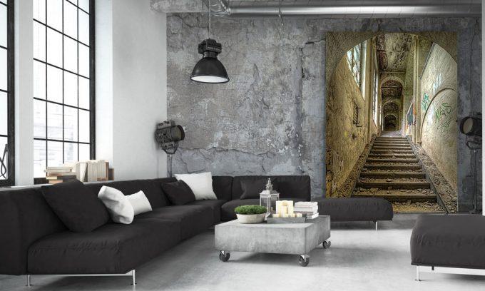 kunst van oud gebouw met trappen in loft op plexiglas