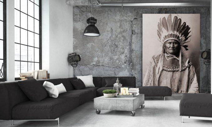 artwork poster of Geronimo on loft wall