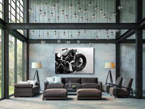 Harley-Davidson softail evo black & white op plexiglas