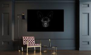 kunstwerk van hond op zwarte achtergrond