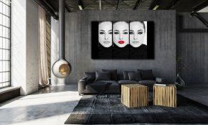 vrouwenportret in loft op plexiglas
