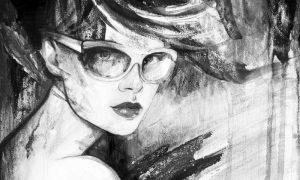 abstracte tekening van een vrouw met zonnebril op plexiglas