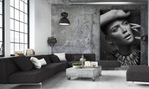 artwork in loft of beautifull woman op plexiglas