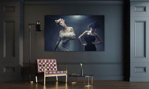 2 fashion modellen op plexiglas