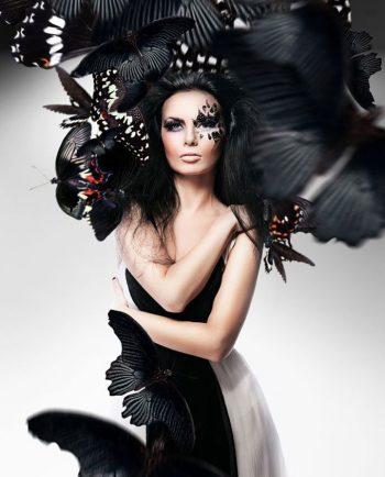 zwart haar en zwarte vlinders op plexiglas