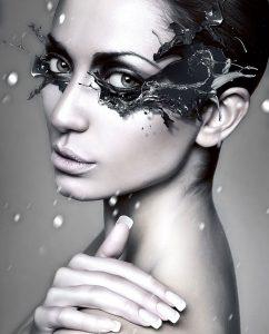 Plexiglas schilderij - Portrait of winter woman with blue splash mask