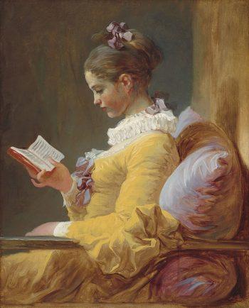 ong meisje leest van de Franse schilder Jean-Honore Fragonard uit 1770