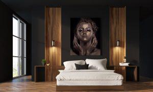 slaapkamer vrouw met goud make up op plexiglas
