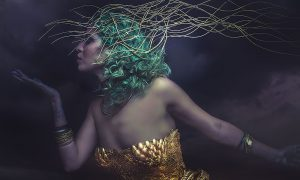 Dream, Deity, beautiful woman with green hair