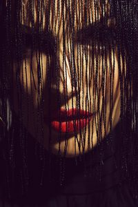 woman or girl with red lips