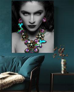 Beautiful woman wearing exotic tropical jewelry