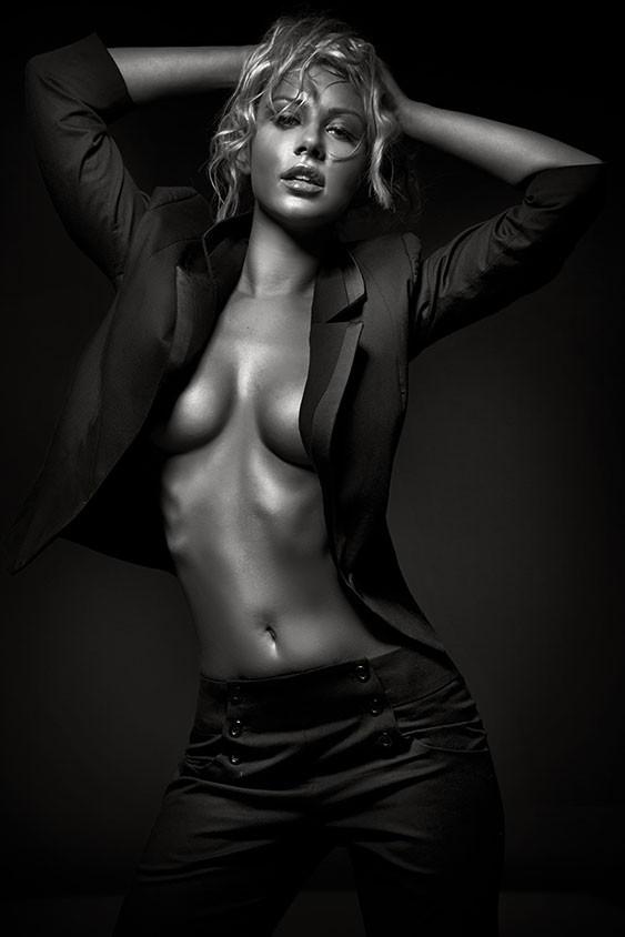 Sexy woman in black and white
