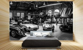slaapkamer met car achtergrond