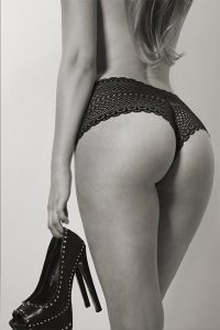 Erotic view of the buttocks of a young woman
