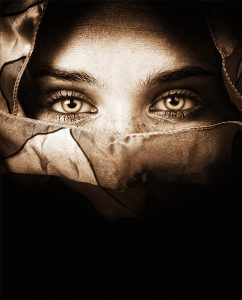 Plexiglas schilderij - Sensual eyes of mysterious woman behind scarf
