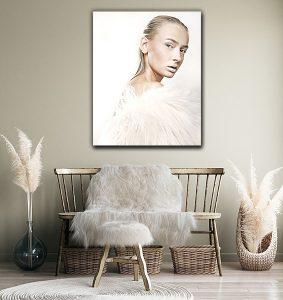 beautiful blonde in white fur