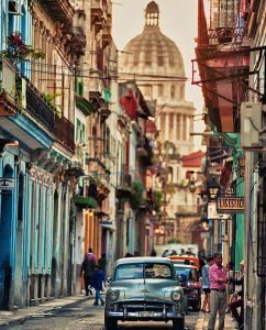 A typical vintage view of a street of Havanna, Cuba